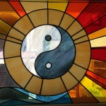 tai qi symbol - stained glass by Karen Rycheck